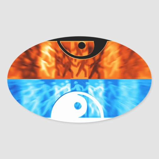 fire and water oval sticker