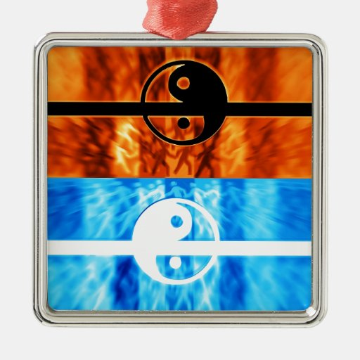 fire and water square metal christmas ornament
