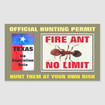 Fire Ant Hunting Permit Rectangular Sticker