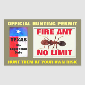 Fire Ant Hunting Permit Rectangular Sticker