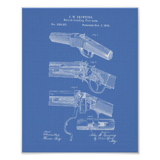 Fire Arms 1879 Patent Art - Blueprint Poster