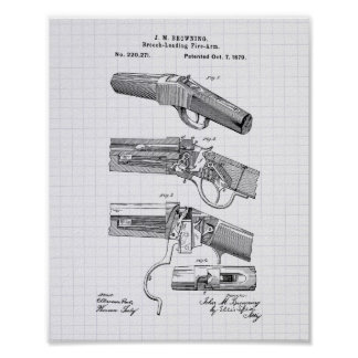Fire Arms 1879 Patent Art - Lined Peper Poster