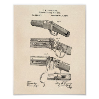 Fire Arms 1879 Patent Art - Old Peper Poster