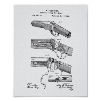 Fire Arms 1879 Patent Art - White Paper Poster