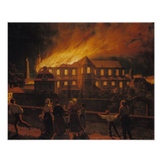 Fire at Cambrai Cathedral, 9th September 1859 Poster