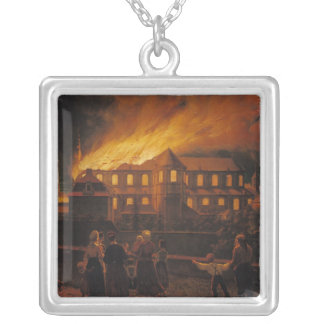 Fire at Cambrai Cathedral, 9th September 1859 Silver Plated Necklace