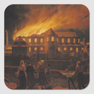 Fire at Cambrai Cathedral, 9th September 1859 Square Sticker