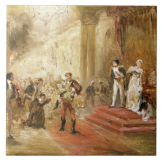 Fire at the Austrian Embassy (oil on canvas) Large Square Tile