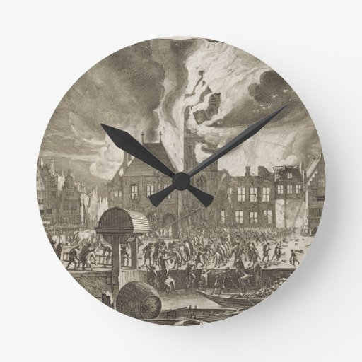Fire at the old Amsterdam Town Hall, 17th July 165 Round Wallclocks