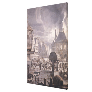 Fire at the Old Town Hall in Amsterdam Canvas Print