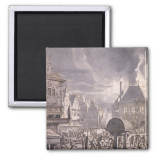 Fire at the Old Town Hall in Amsterdam 2 Inch Square Magnet