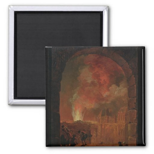Fire at the Opera of the Palais-Royal 2 Inch Square Magnet