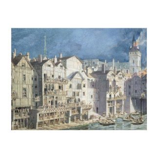 Fire at the Pont aux Meuniers in 1621 Canvas Print