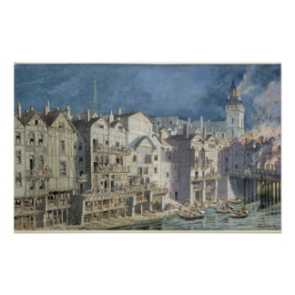 Fire at the Pont aux Meuniers in 1621 Poster