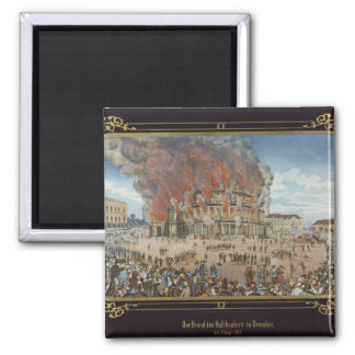 Fire at the Royal Theatre in Dresden 2 Inch Square Magnet