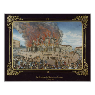 Fire at the Royal Theatre in Dresden Poster