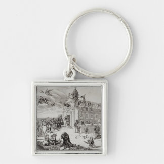 Fire at the Temple of Charenton, c.1685 Silver-Colored Square Keychain