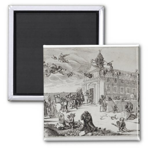 Fire at the Temple of Charenton, c.1685 Magnets