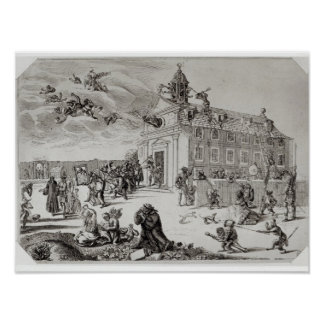 Fire at the Temple of Charenton, c.1685 Poster