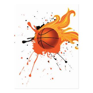 Fire Basketball Ball Postcard