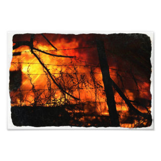 fire behind fence art photo