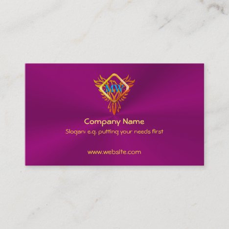 Fire Bird Phoenix on eggplant purple Business Card