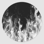 Fire (black and white) round stickers