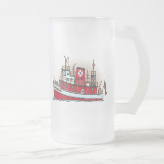 Fire Boat Frosted Glass Mug