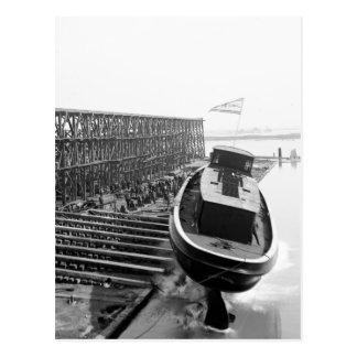 Fire Boat Launch: 1901 Postcard