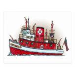 Fire Boat Postcard