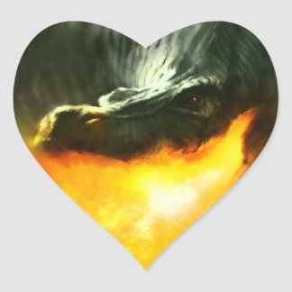 Fire-Breathing Dinosaur or Dragon by Michael Maher Heart Sticker