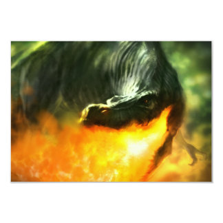 """Fire-Breathing Dinosaur or Dragon by Michael Maher 3.5"""" X 5"""" Invitation Card"""