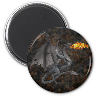 Fire-Breathing Dragon 2 Inch Round Magnet