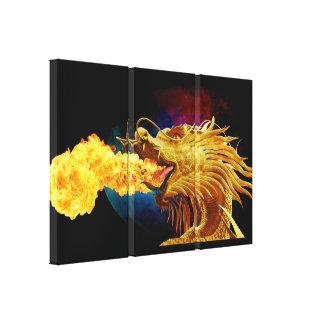 Fire Breathing Dragon 3 Piece Art Wall Canvas