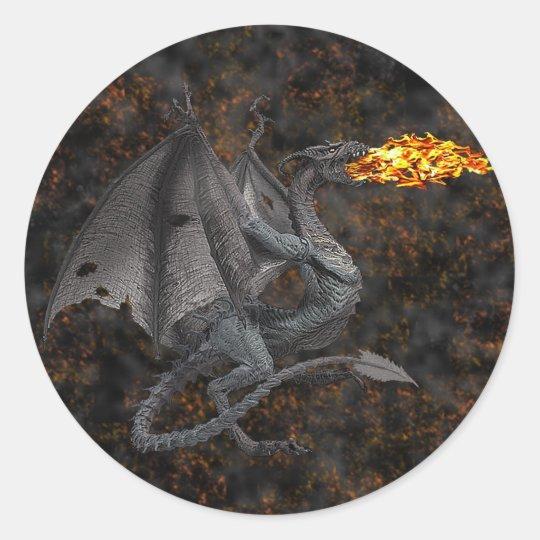 Fire-Breathing Dragon Classic Round Sticker