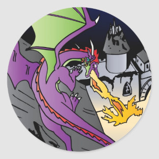Fire Breathing Dragon Classic Round Sticker