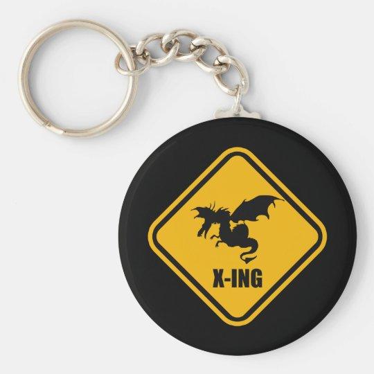 Fire Breathing Dragon Crossing Street Sign Keychain