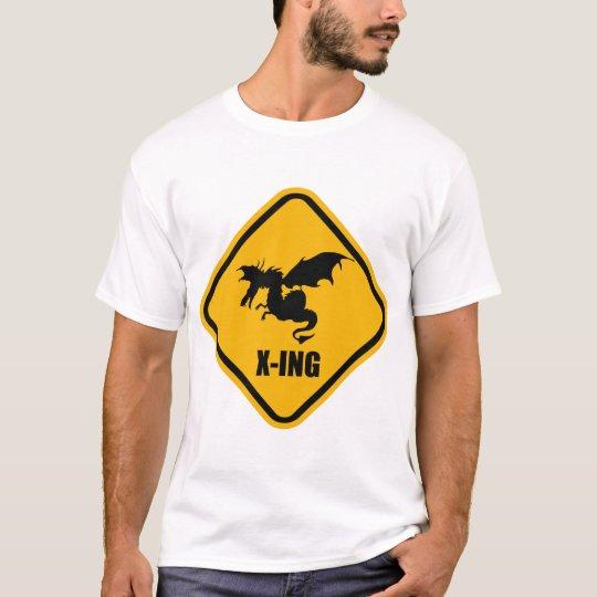Fire Breathing Dragon Crossing Street Sign T-Shirt