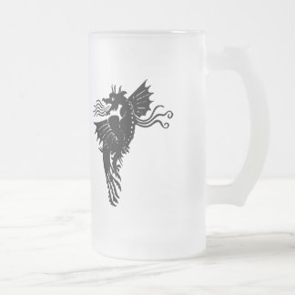 Fire Breathing Dragon Frosted Glass Beer Mug
