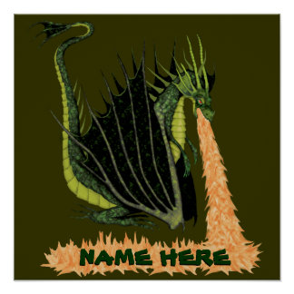 Fire Breathing Dragon (Name on Fire) Poster