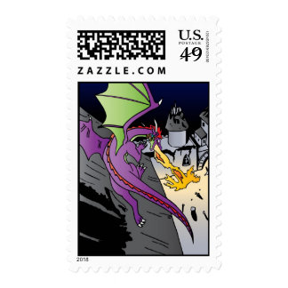 Fire Breathing Dragon Postage Stamp