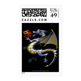 Fire-breathing dragon postage stamp