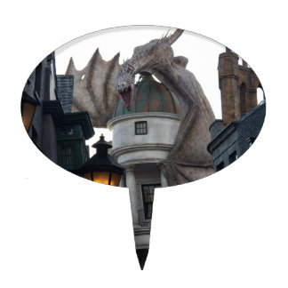 Fire breathing Dragon protecting wizard's bank Cake Topper