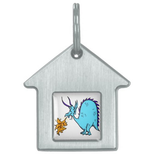Fire Breathing Dragon Teal.png Pet Tags