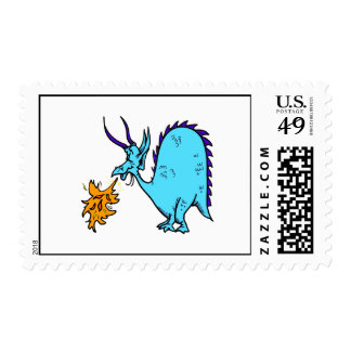 Fire Breathing Dragon Teal.png Stamp