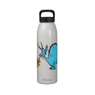 Fire Breathing Dragon Teal png Reusable Water Bottles