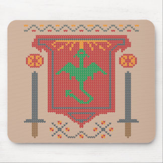 Fire Breathing Dragon Ugly Sweater Design Mouse Pad