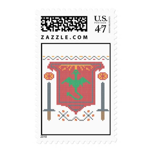 Fire Breathing Dragon Ugly Sweater Design Postage Stamp