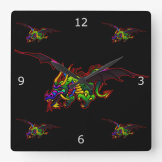 Fire Breathing Flying Dragons Square Wall Clock