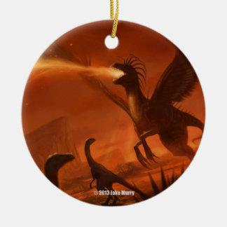 Fire-Breathing Prehistoric Dinosaur by Jake Murray Ceramic Ornament